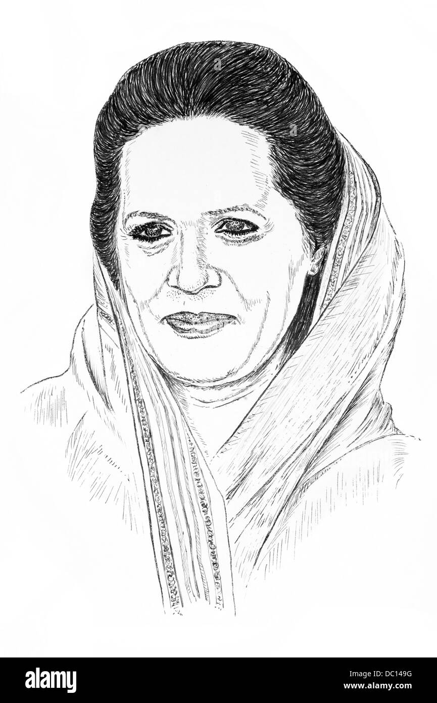 Illustration of Sonia Gandhi, President of the Indian National Congress Party, India - Stock Image