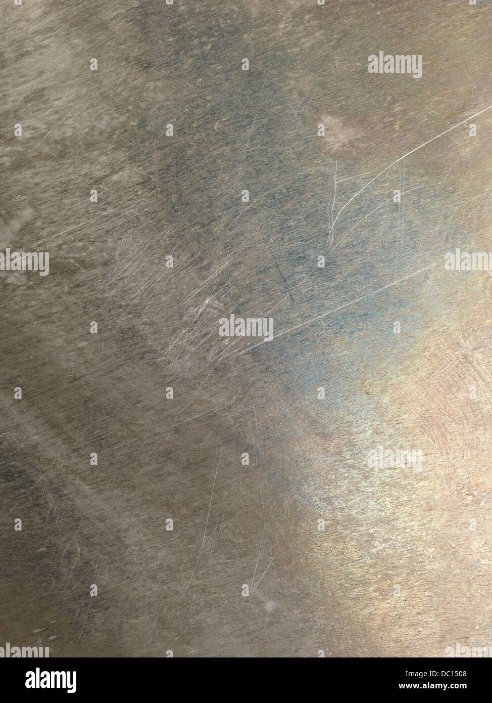 Oxidized scratched grungy shiny metal texture background - Stock Image