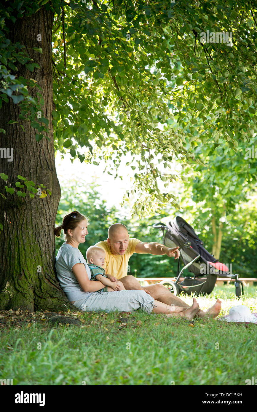 young family in the park - Stock Image