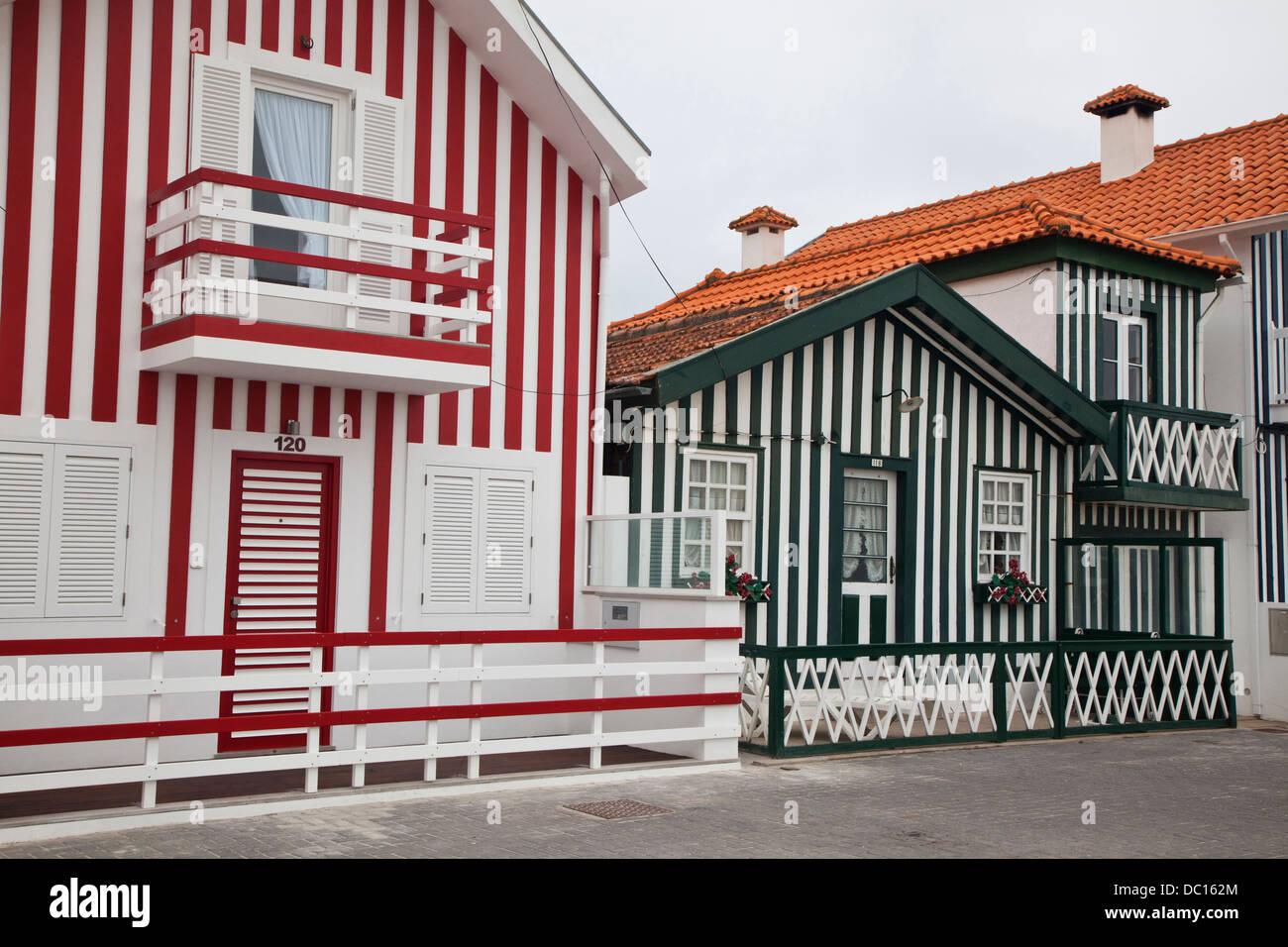 Europe, Portugal, Aveiro, Costa Nova. 'Palheiros' typical colorful houses, Costa Nova, Aveiro. Stock Photo