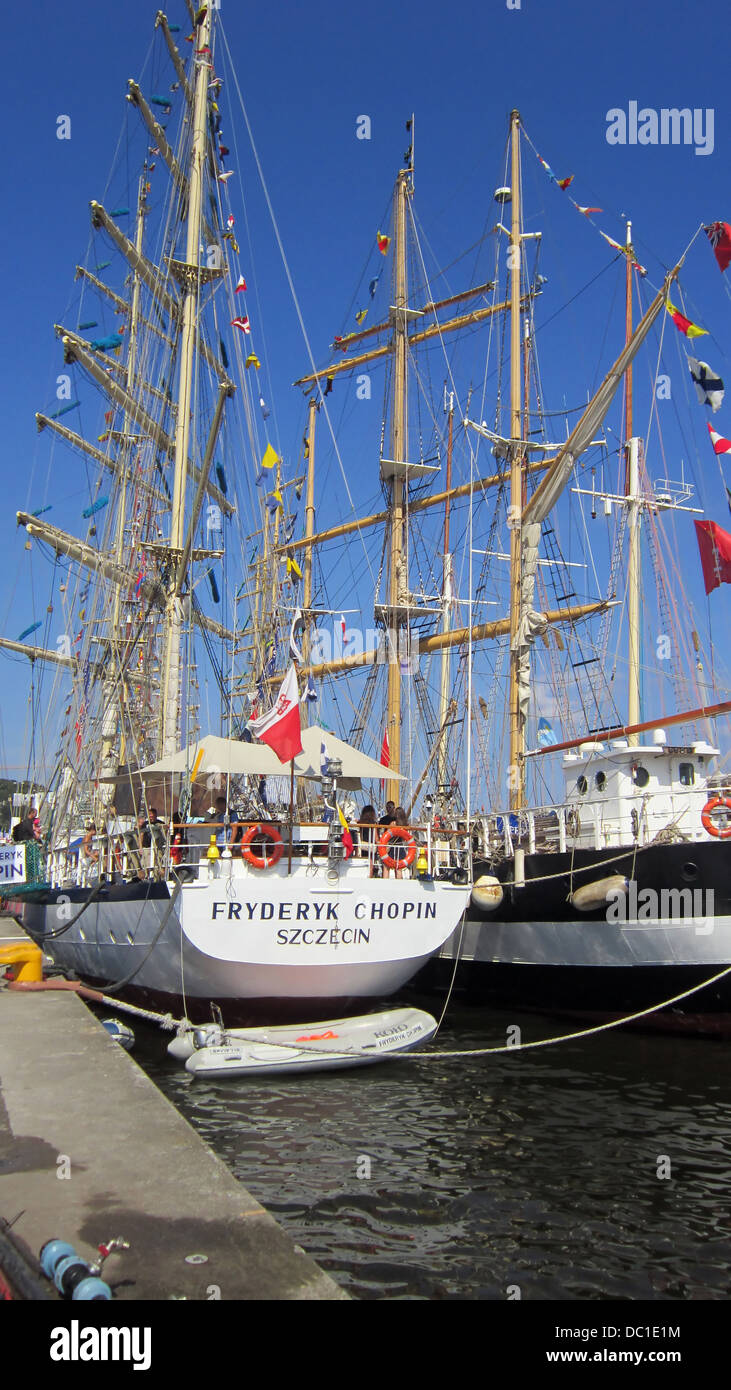 Sailing ships with lowered sails docked in Szczecin, Poland. The Tall Ship Races 2013 - Stock Image