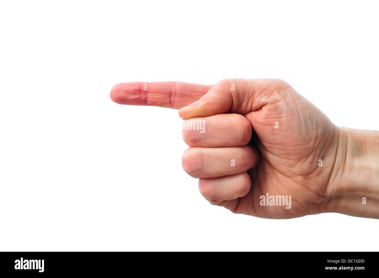 Finger pointing left - Stock Image