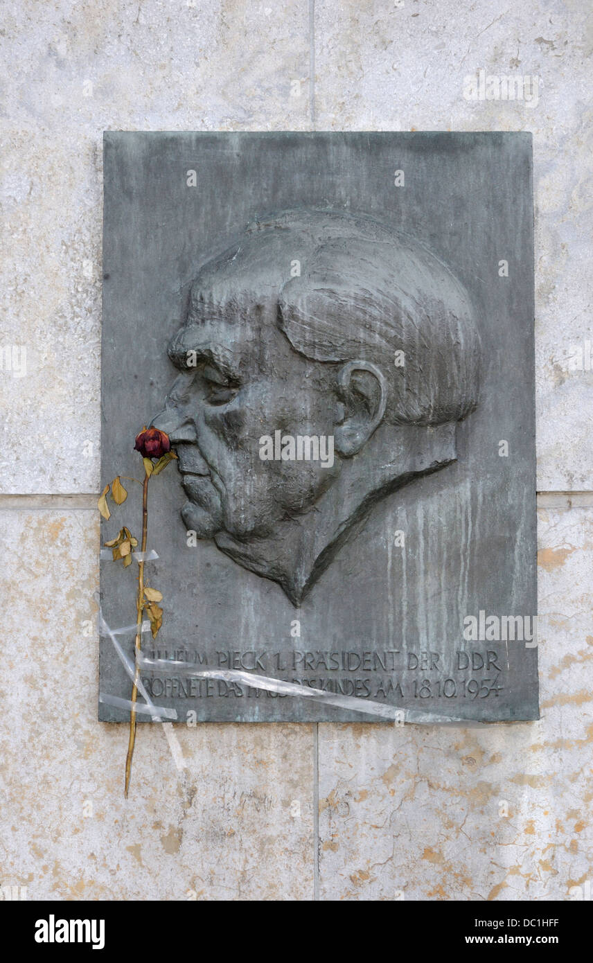 Memorial to former East German president Willhelm Pieck on Strausberger Platz, Berlin, Germany. - Stock Image
