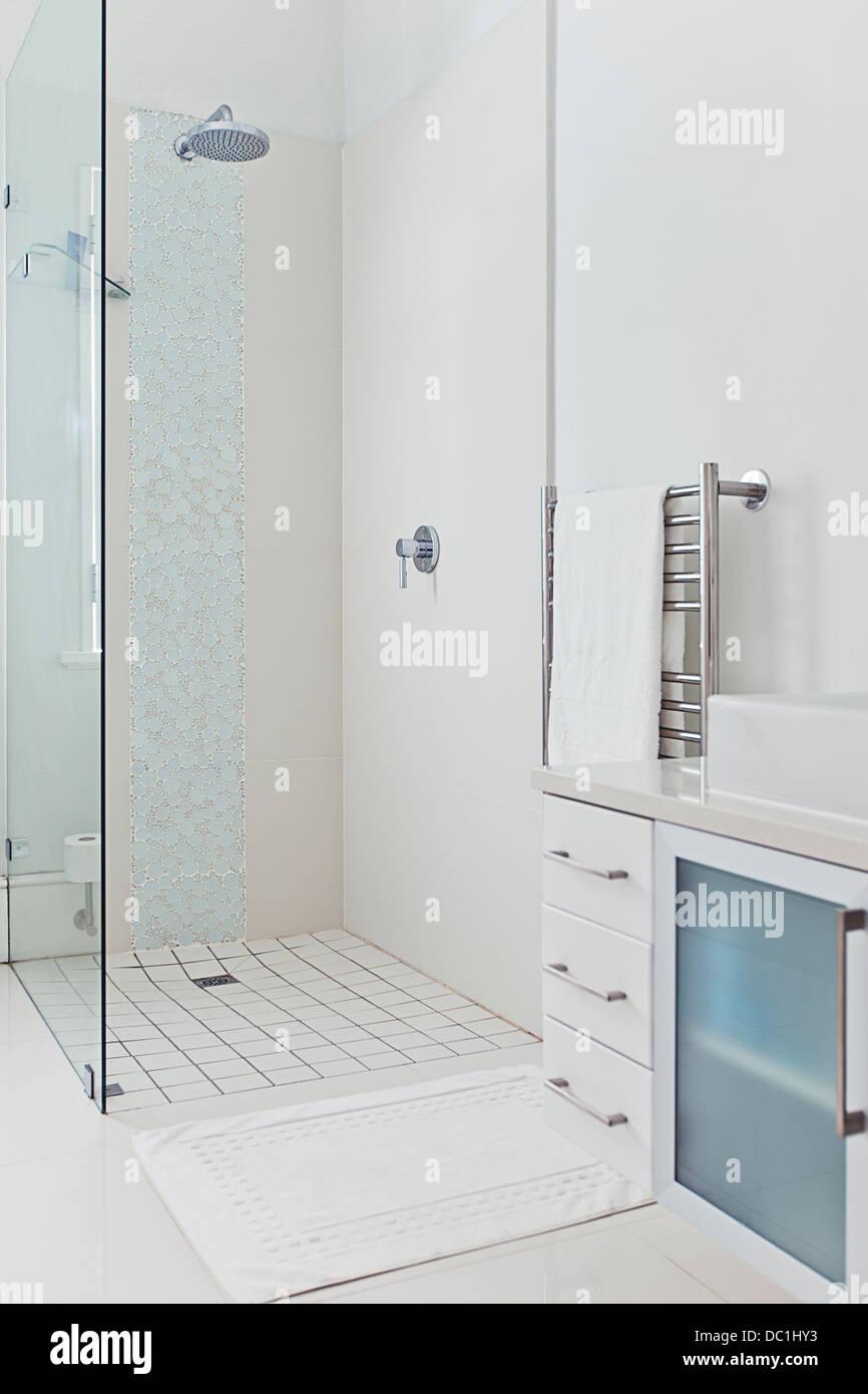 Shower in modern bathroom - Stock Image