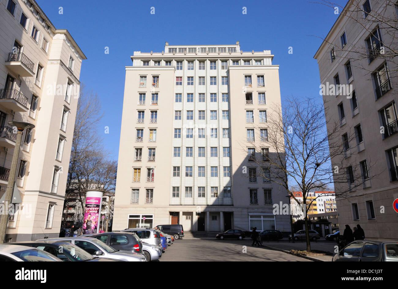 Hochhaus an der Weberwiese, Berlin, Germany. - Stock Image