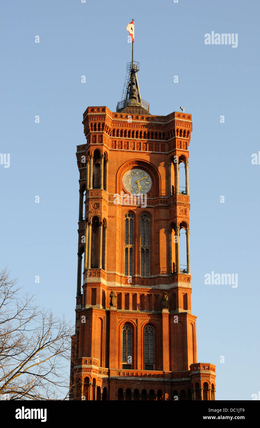The tower of the Rotes Rathaus, Berlin, Germany. - Stock Image