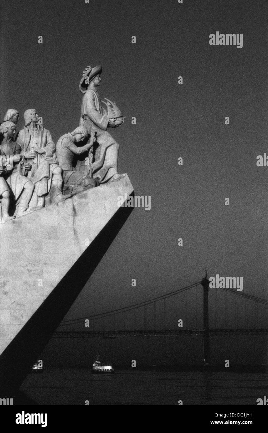 Monument to the Discoveries and river Tage. Lisbon. Portugal - Stock Image
