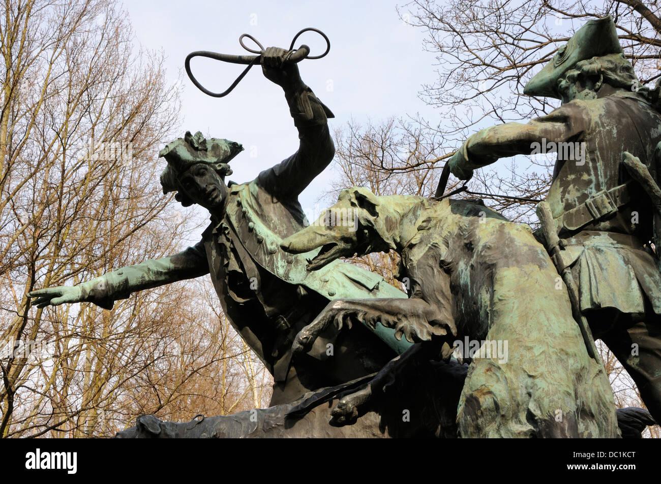 Hunting sculpture, Tiergarten, Berlin, Germany. - Stock Image