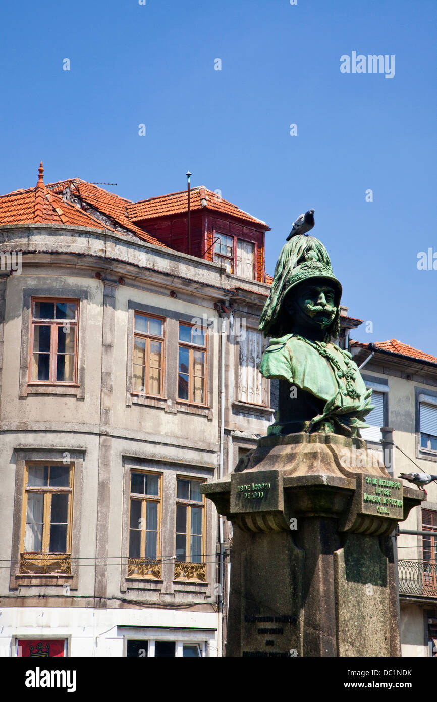 Europe, Portugal, Porto. Statue of Guilherme Gomes Fernandes, commander of the firefighters.Stock Photo