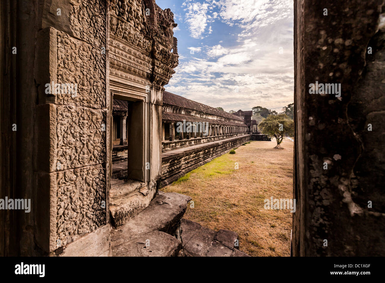 Temple courtyard in Angkor Wat, Siem Reap, Cambodia - Stock Image