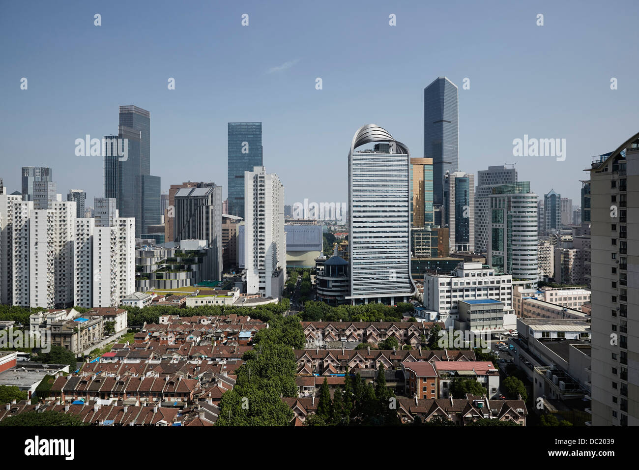 High angle view of Shanghai city, China - Stock Image