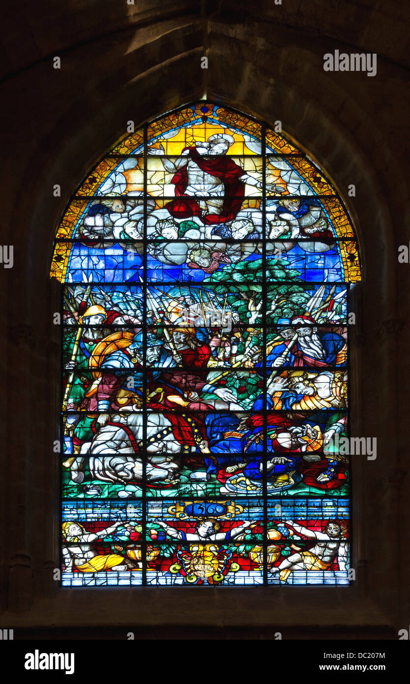 Stained glass window 'the Conversion of Saint Paul', by Enrique Aleman, Saint-James Chapel, Cathedral of - Stock Image