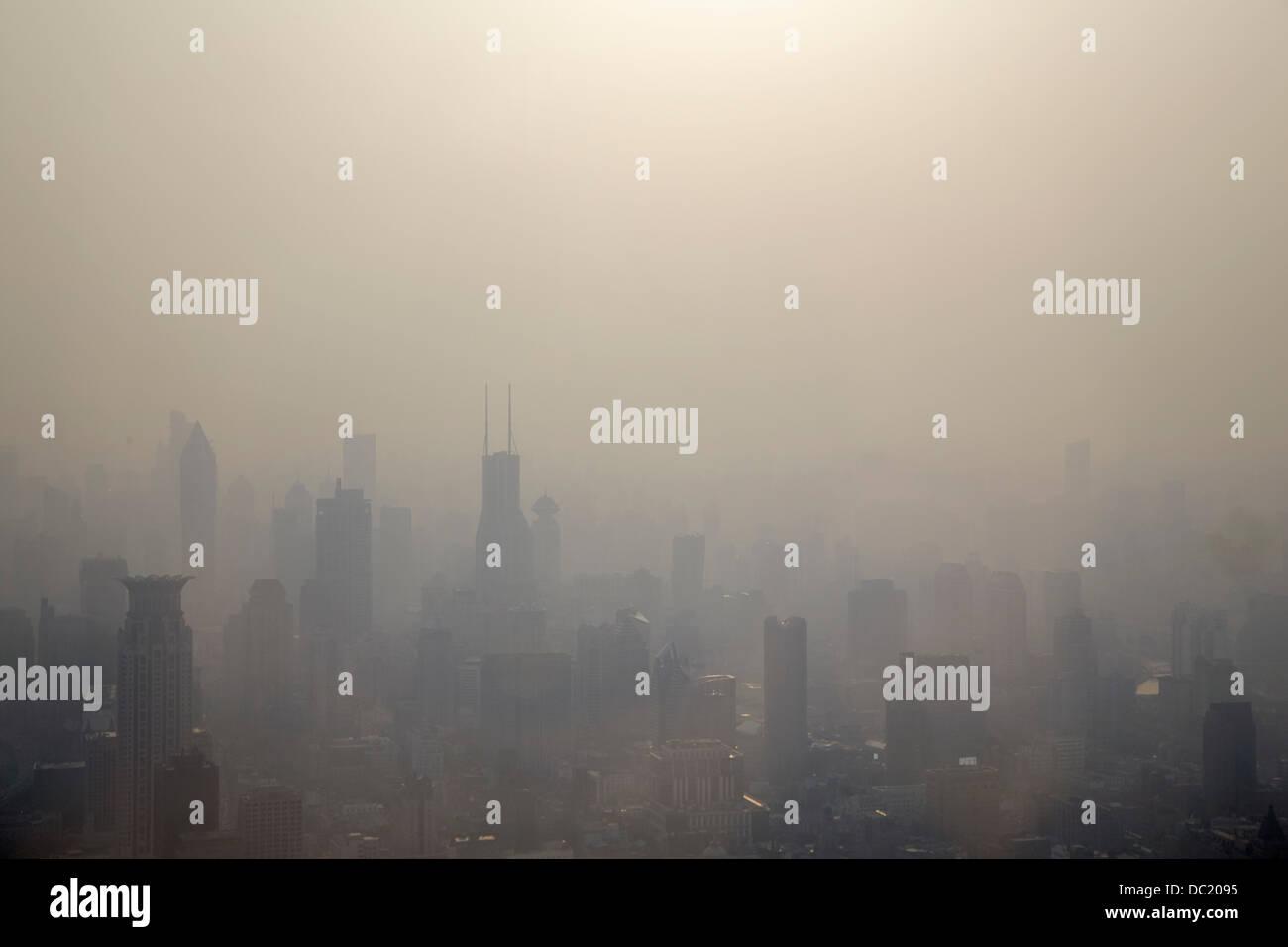 Mist over Shanghai cityscape, China - Stock Image
