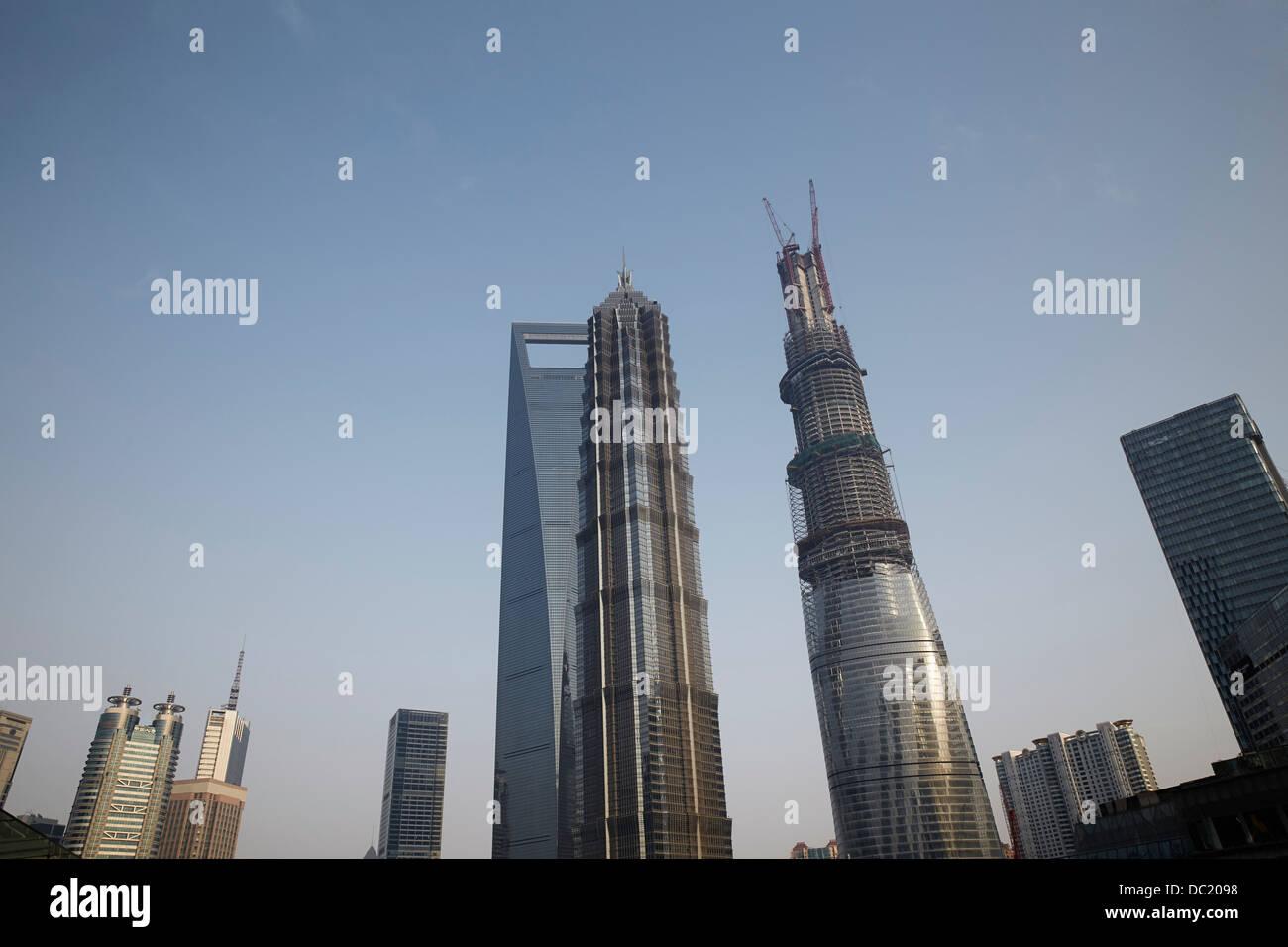 Shanghai Tower, Jin Mao Tower and Shanghai World Financial Center, Shanghai, China - Stock Image