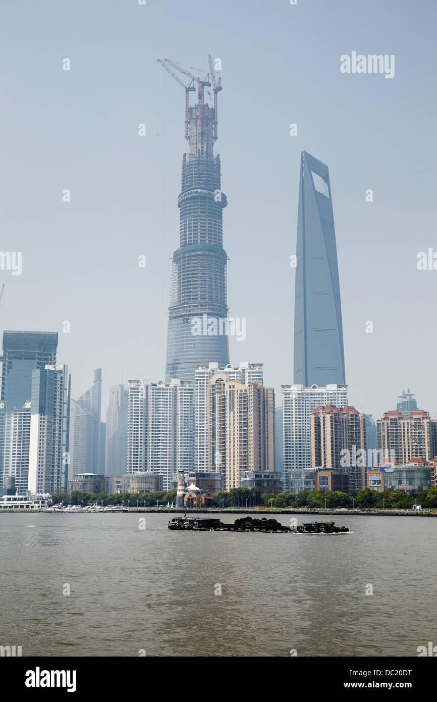 Shanghai Tower and Shanghai World Financial Center, Shanghai, China - Stock Image