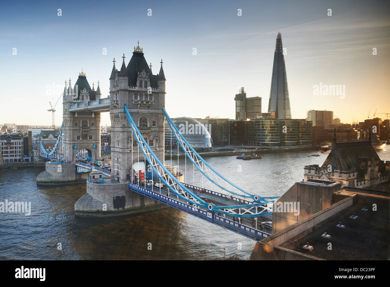 Tower Bridge and The Shard, London, UK - Stock Image