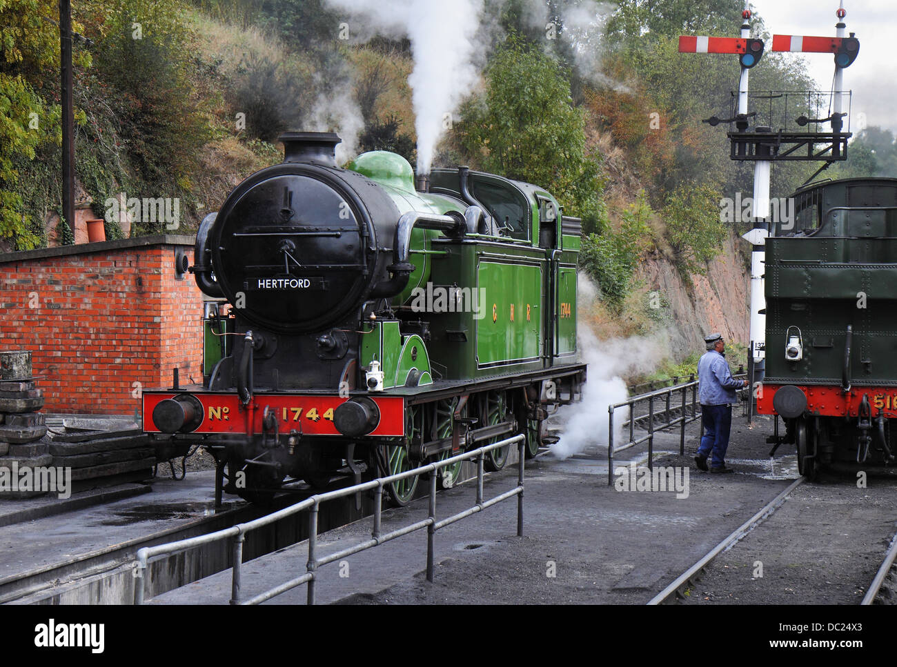 The Age of Steam, Vintage Steam Locomotives on an English Railway Stock Photo