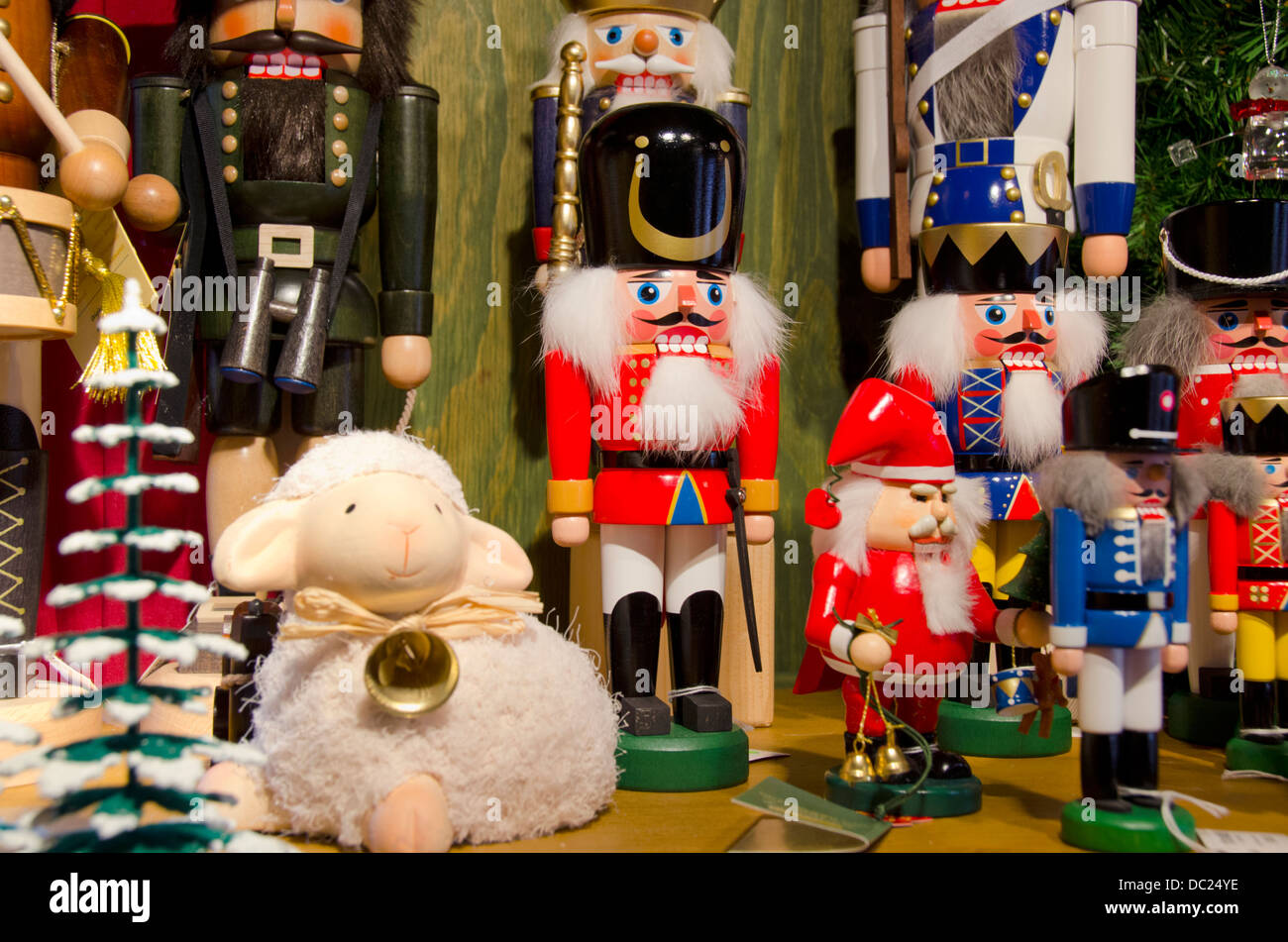 switzerland basel basel winter holiday market at barfusserplatz traditional wooden nutcracker christmas decorations