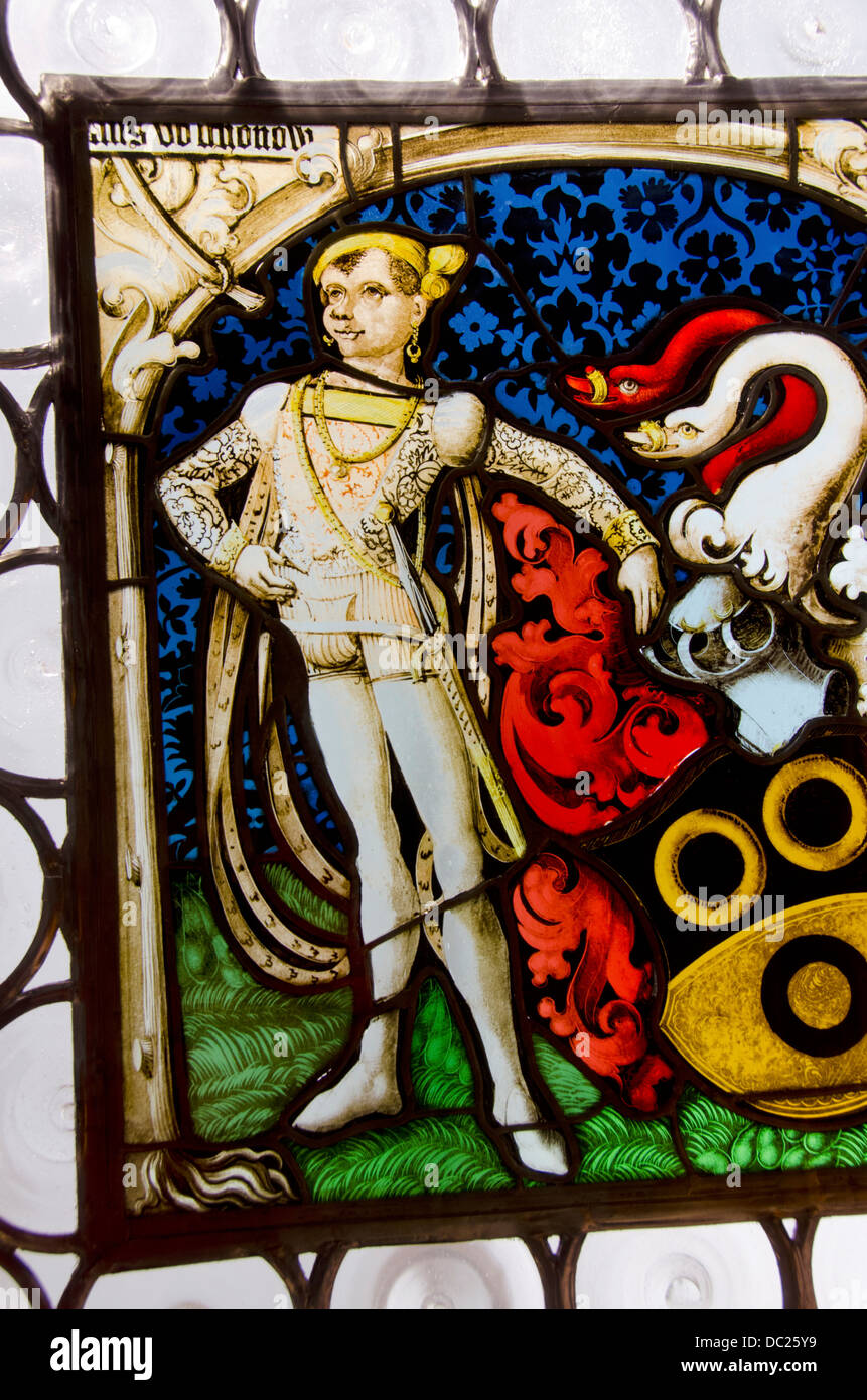 Switzerland, Basel. Barfusserkirche Historical Museum, in Gothic Barfusser Church. Stained glass collection, circa Stock Photo