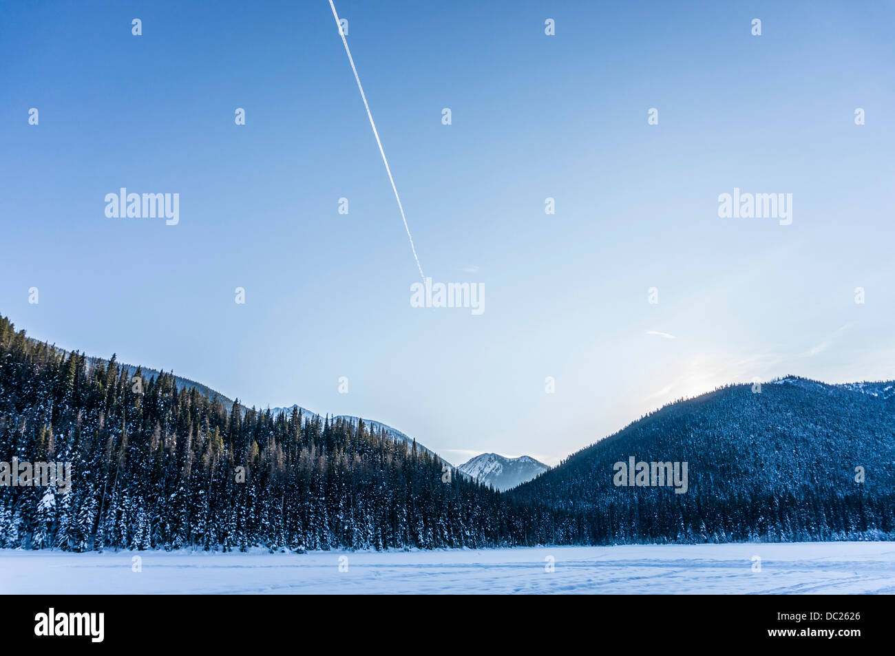Winter view of Lightening Lakes in Manning Park, British Colombia, Canada. - Stock Image