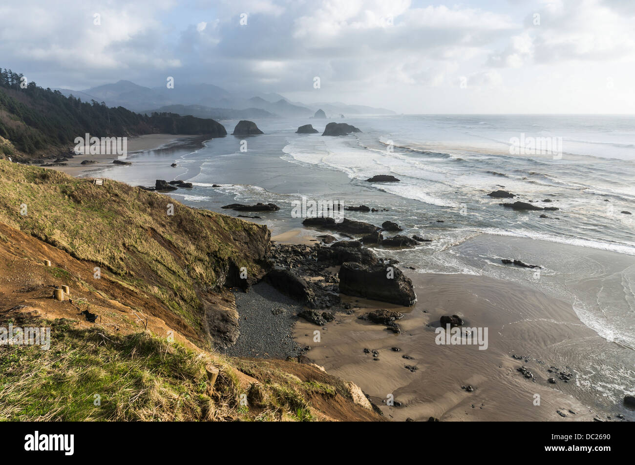 View of the Oregon Coast at Ecola State Park near Cannon Beach, Oregon. - Stock Image