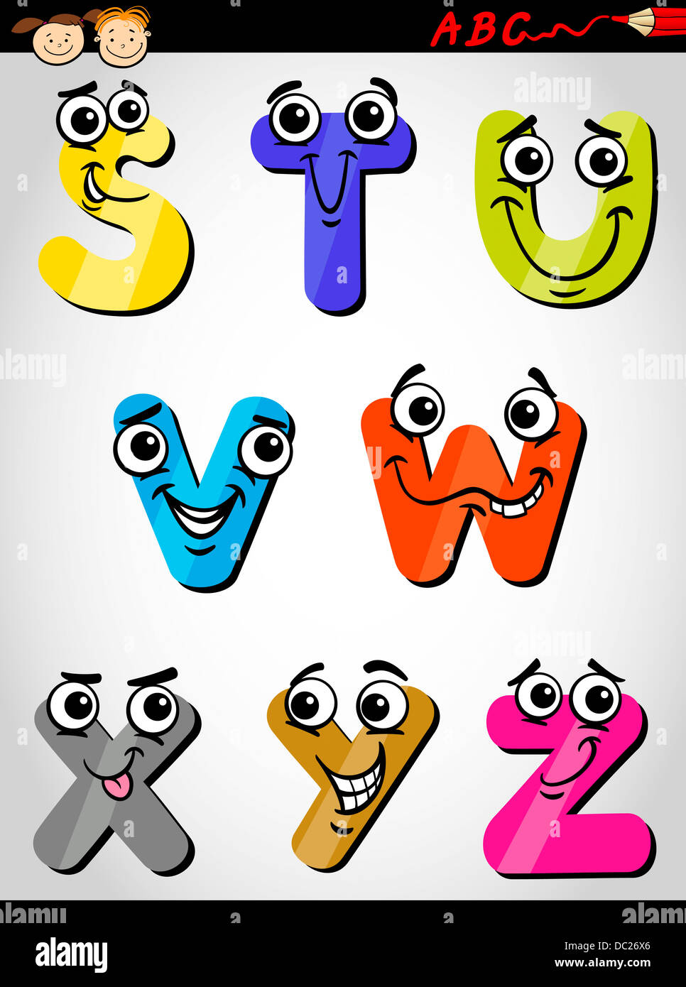 Cartoon Illustration Of Funny Capital Letters Alphabet From S To Z For Children Education