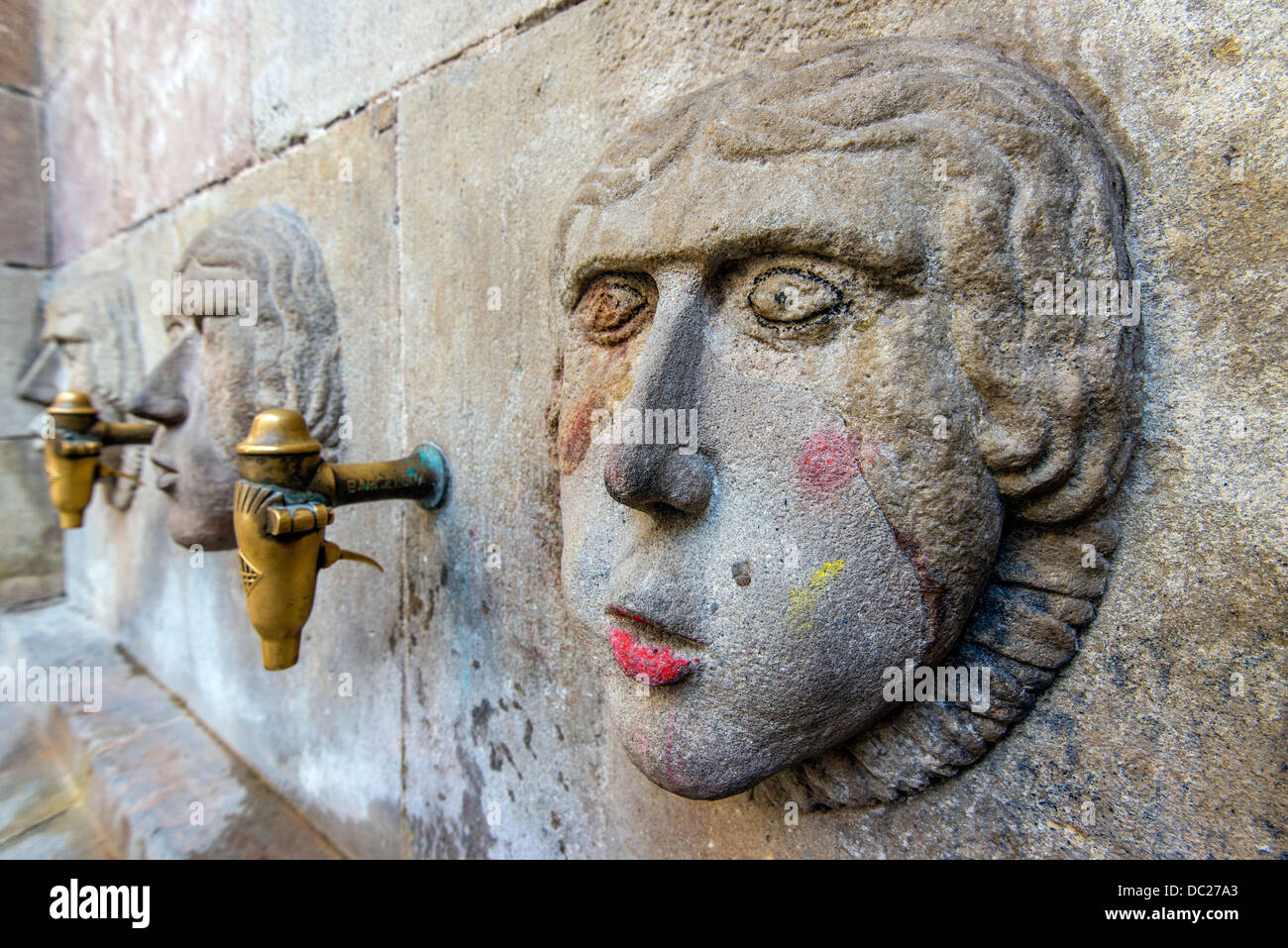 Medieval water fountain in Plaza Sant Just, Barcelona, Catalonia, Spain - Stock Image