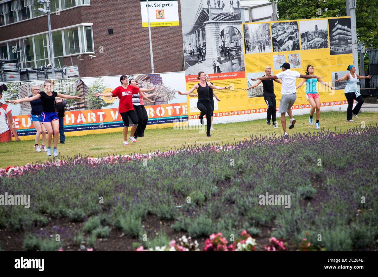 Keep fit class exercising in central Rotterdam Netherlands - Stock Image