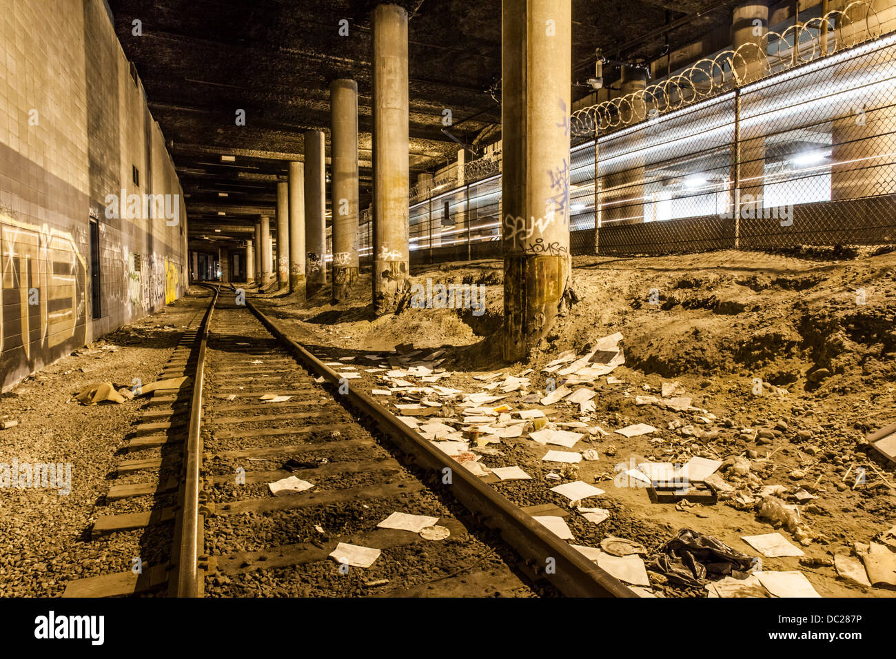 Train tunner near the Waterfront Skytrain Station in Vancouver, British Colombia, Canada. - Stock Image