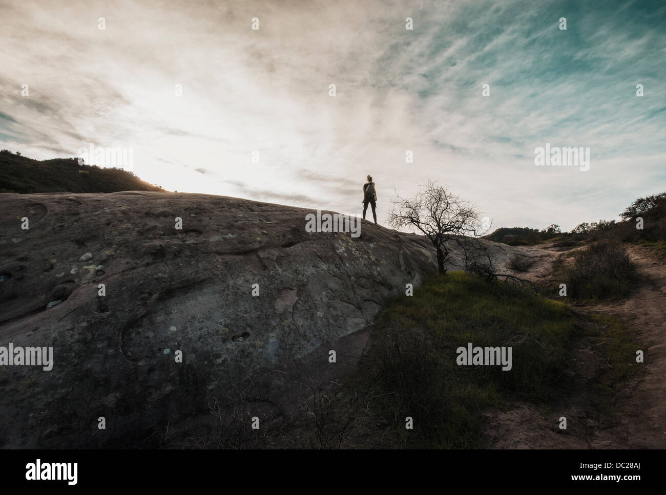 Woman standing on mountain at Topanga, California - Stock Image