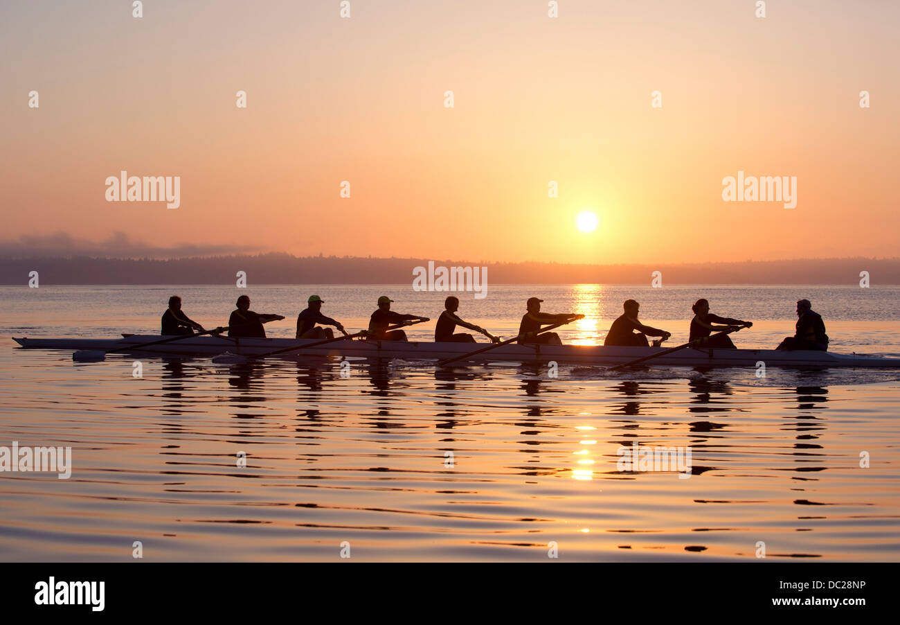 Nine people rowing at sunset - Stock Image