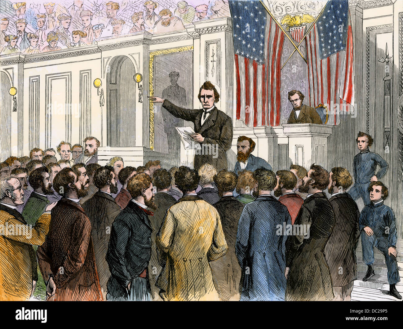 Thaddeus Stevens closing the debate in Congress on President Andrew Johnson's impeachment, 1868. Hand-colored - Stock Image