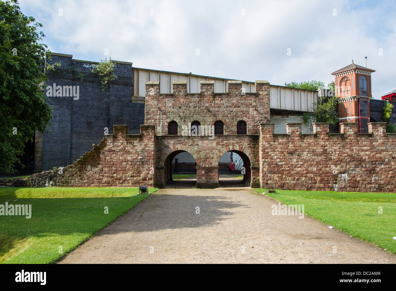 North Gate of Castlefield Roman Fort of Mamucium in Manchester. - Stock Image