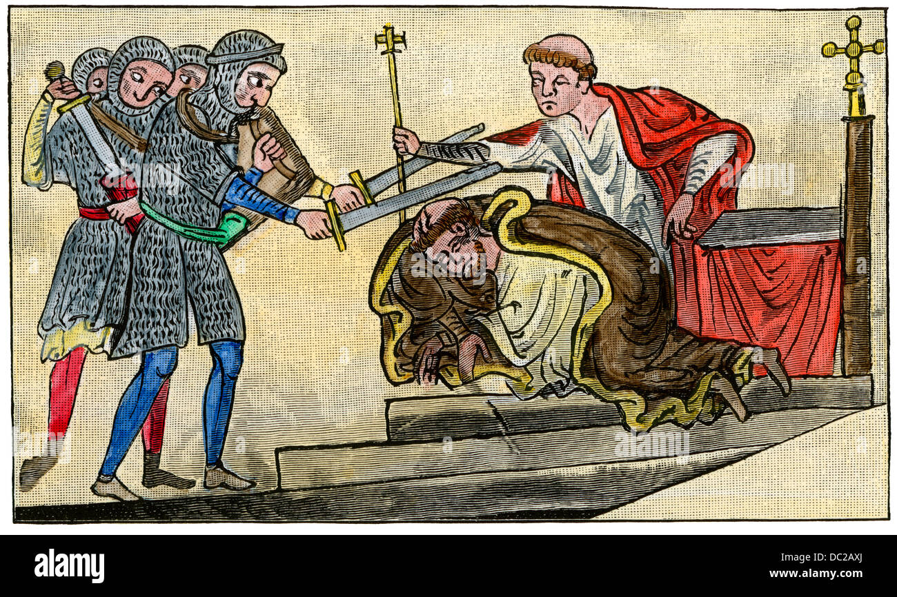 Martyrdom of St. Thomas a Becket, Archbishop of Canterbury, 1170 AD. Hand-colored woodcut - Stock Image