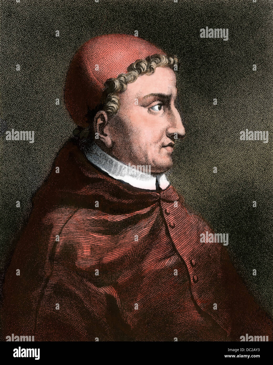 Cardinal Ximenes of Spain. Hand-colored engraving - Stock Image