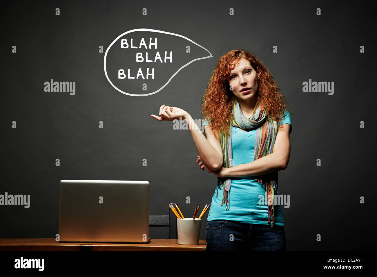 Woman talking continuously, blah blah blah speech bubble - Stock Image