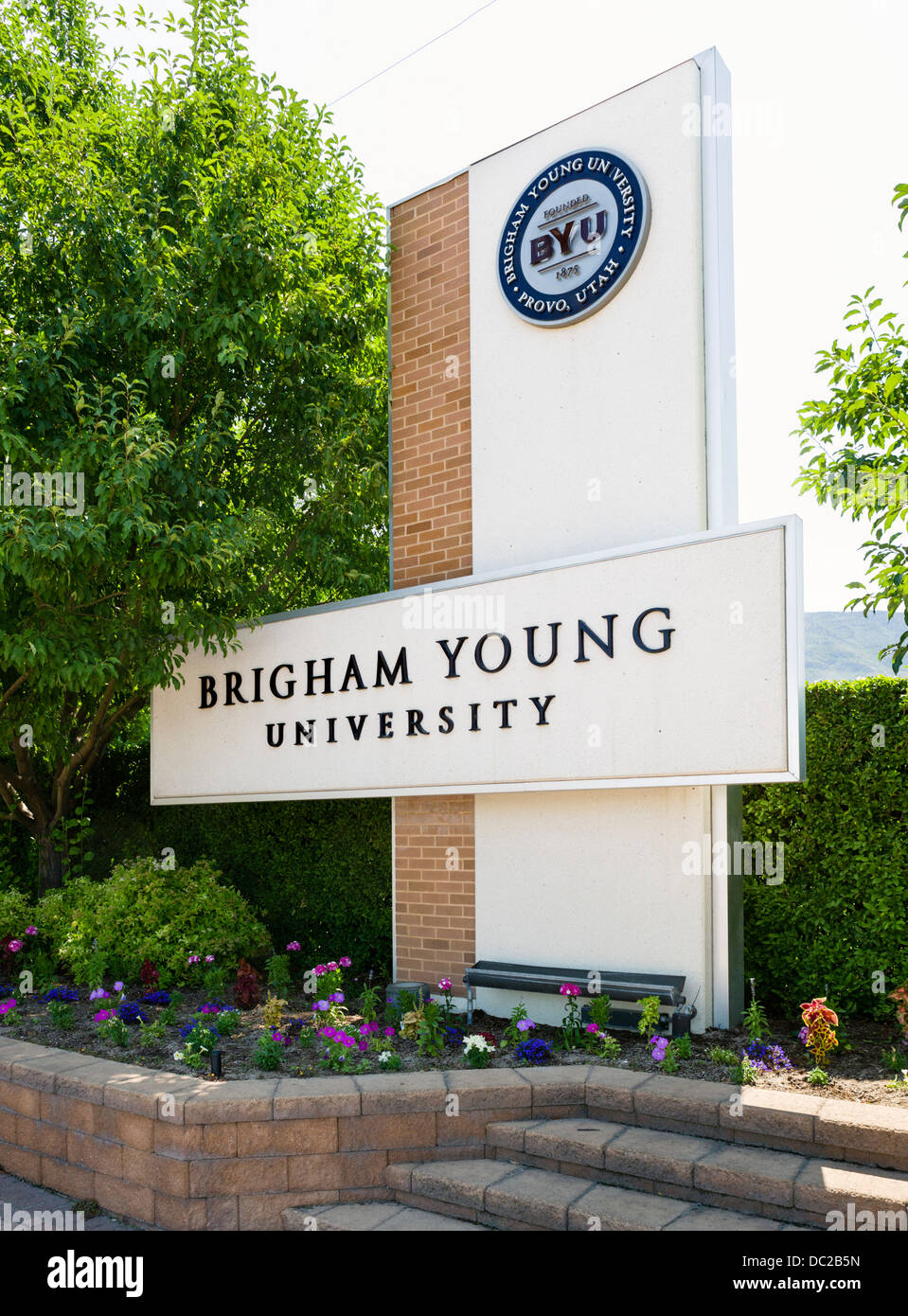 Sign outside campus of Brigham Young University (BYU), one of the largest private universities in the USA , Provo, - Stock Image