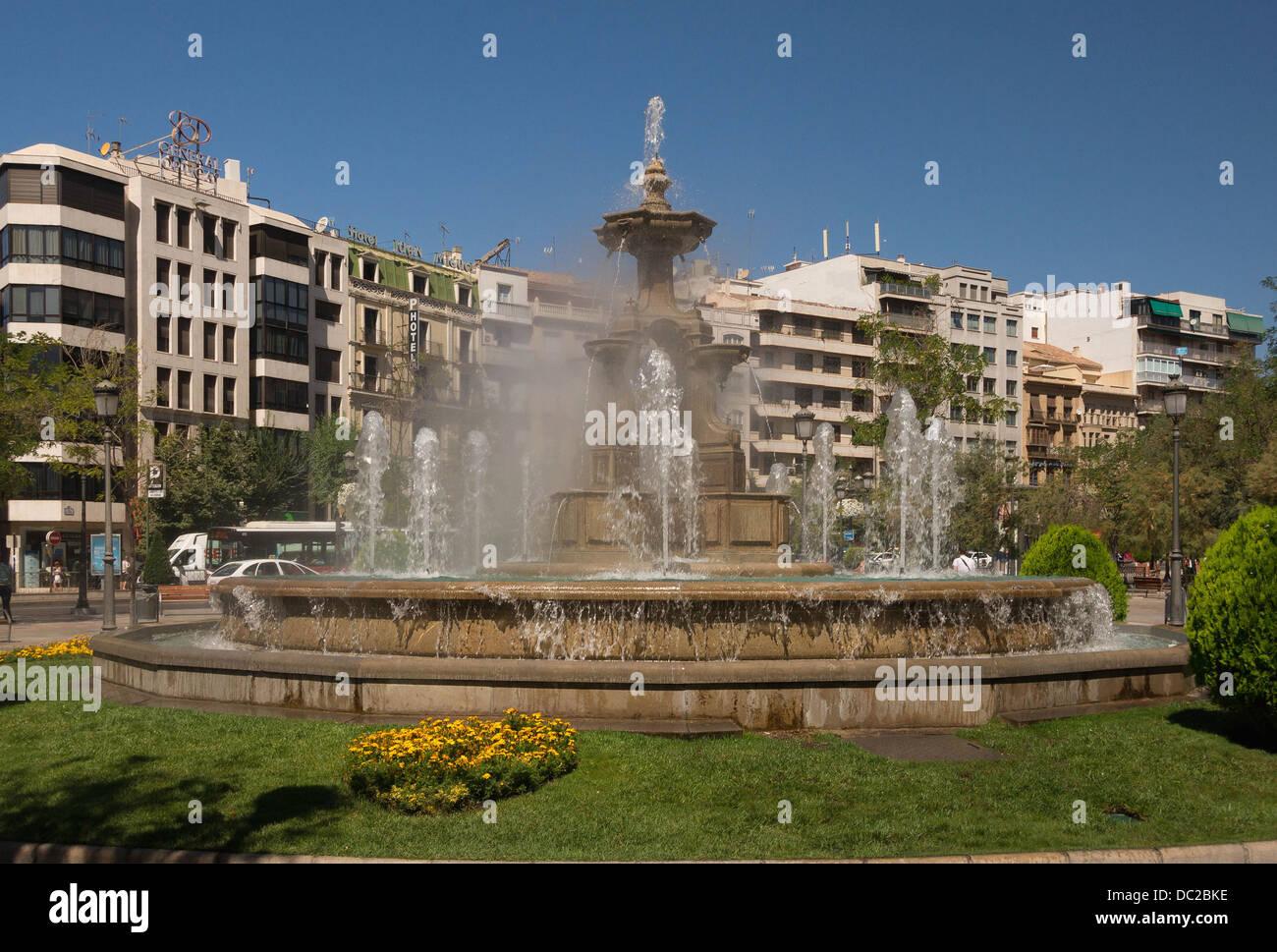 The 'Fountain of the Battles' (Fuente de las Batallas), Plaza de la Puerta Real, Granada, Spain. - Stock Image