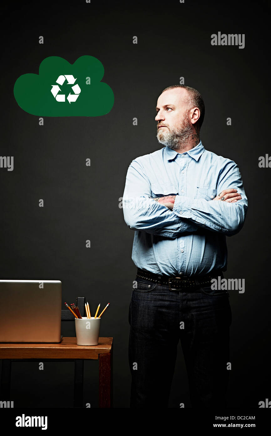 Man looking at environmental issue - Stock Image