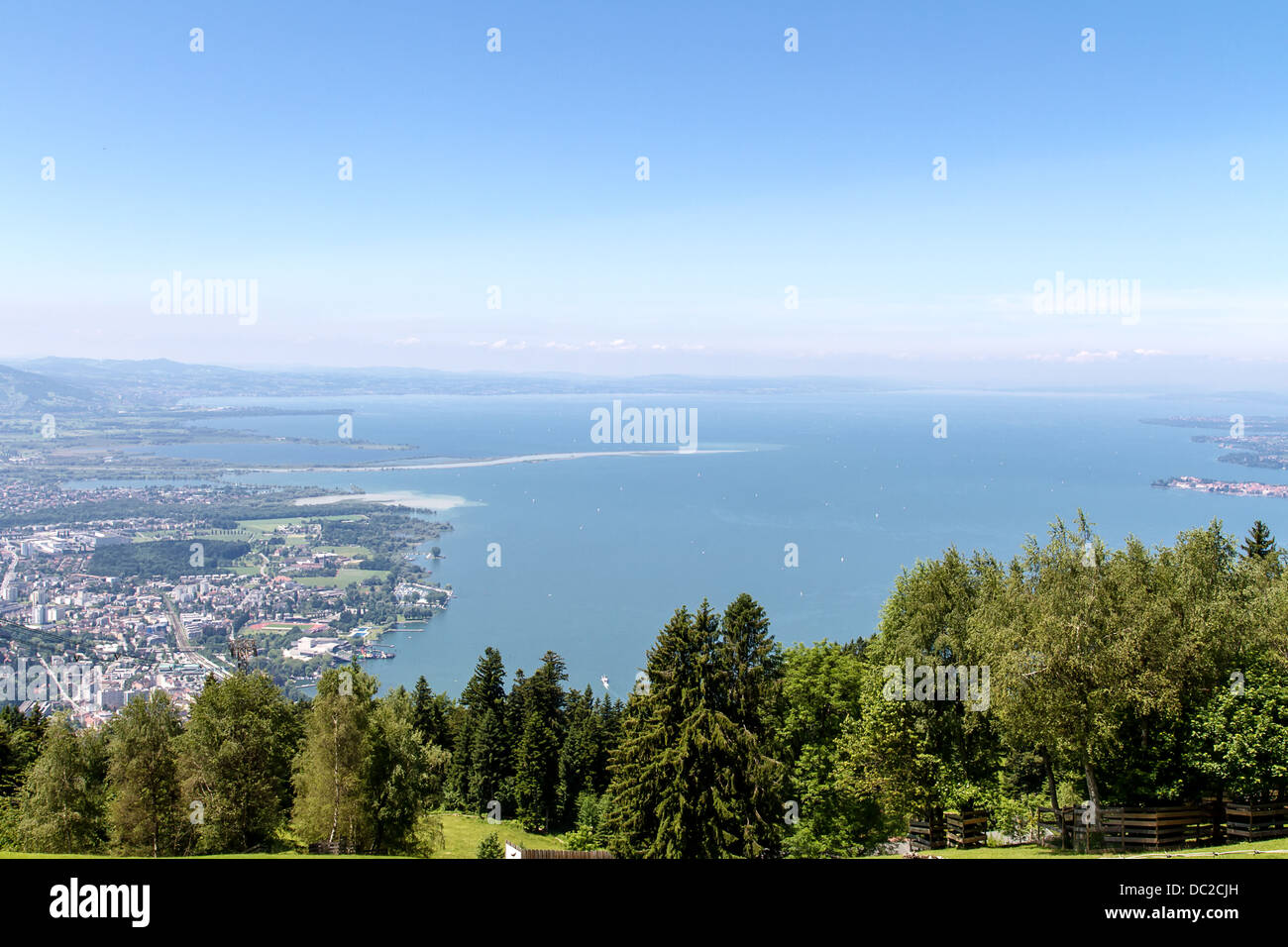 View from the Pfaender near Bregenz in Austria on the Lake Constance - Stock Image