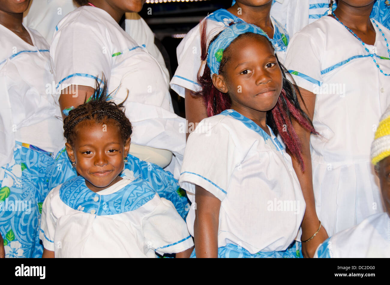 Belize, Placencia. Local dance group, Garifuna cultural dancers. - Stock Image