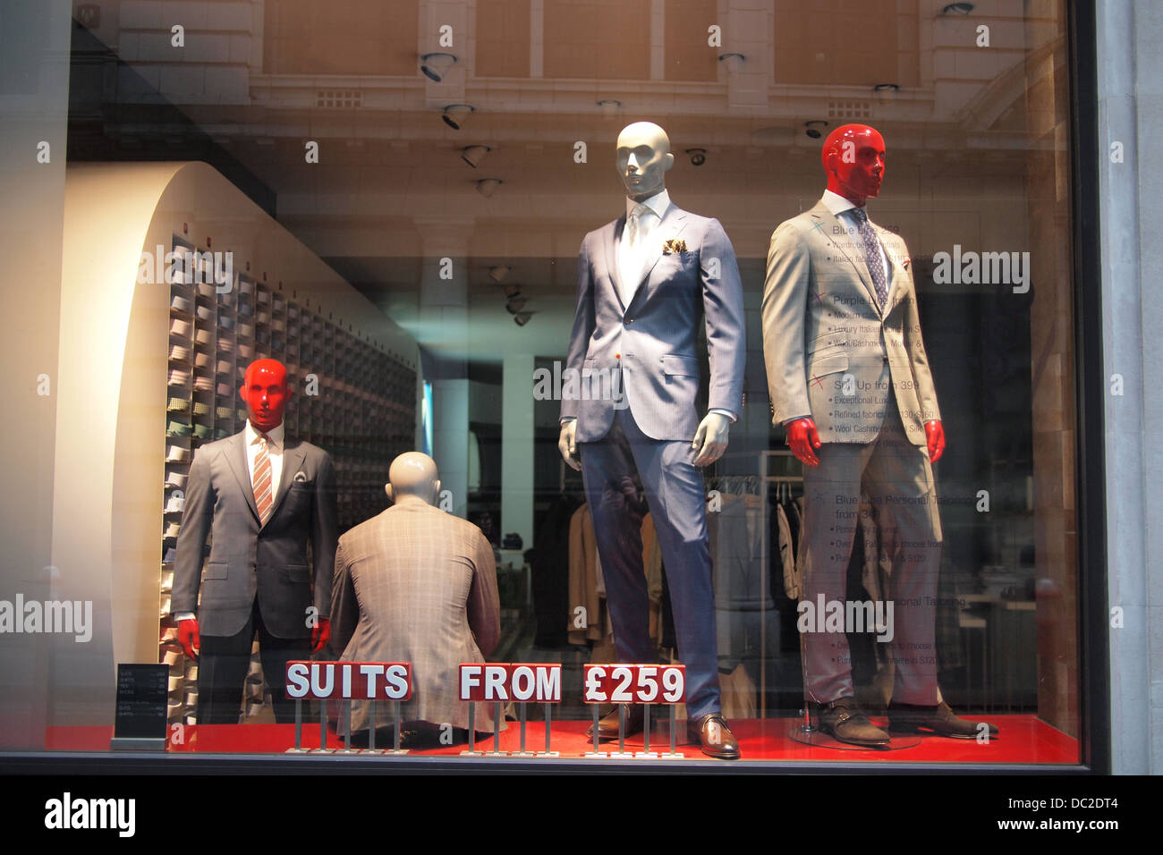 mannequin clothes models in London shop window UK - Stock Image