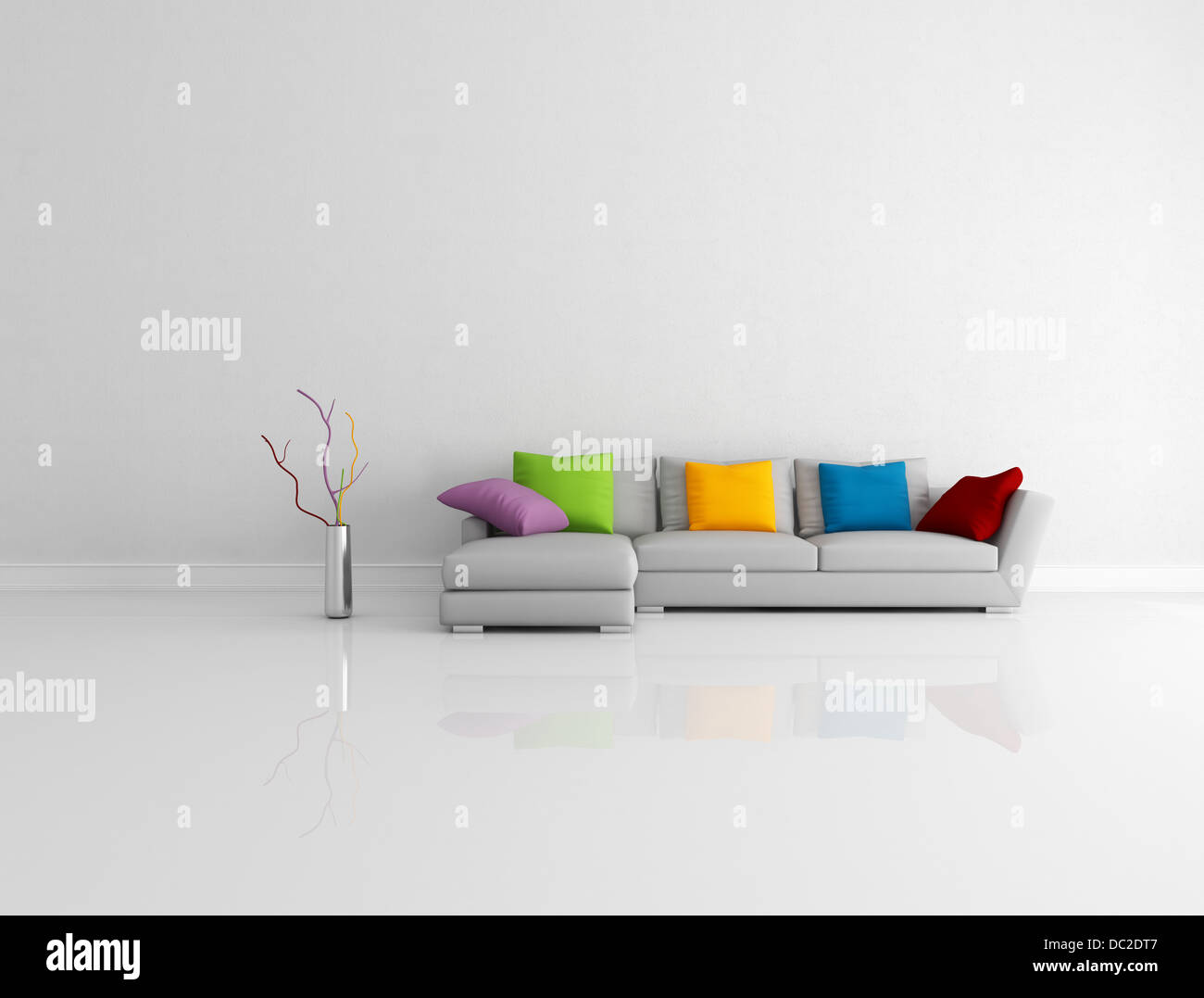 Awesome Gray Modern Couch With Colored Pillow In A Bright Empty Unemploymentrelief Wooden Chair Designs For Living Room Unemploymentrelieforg
