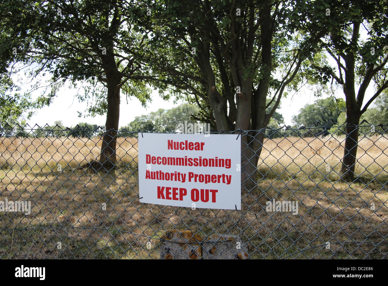NO ENTRY Nuclear Decommissioning Authority Property site in Bradwell on Sea, Essex UK - Stock Image