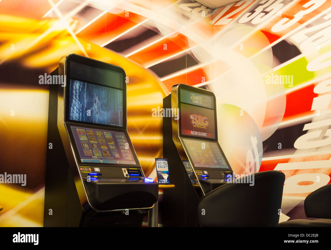 Fixed odds roulette machines, also known as fixed odds betting terminals in Corals Bookmakers, England, UK - Stock Image