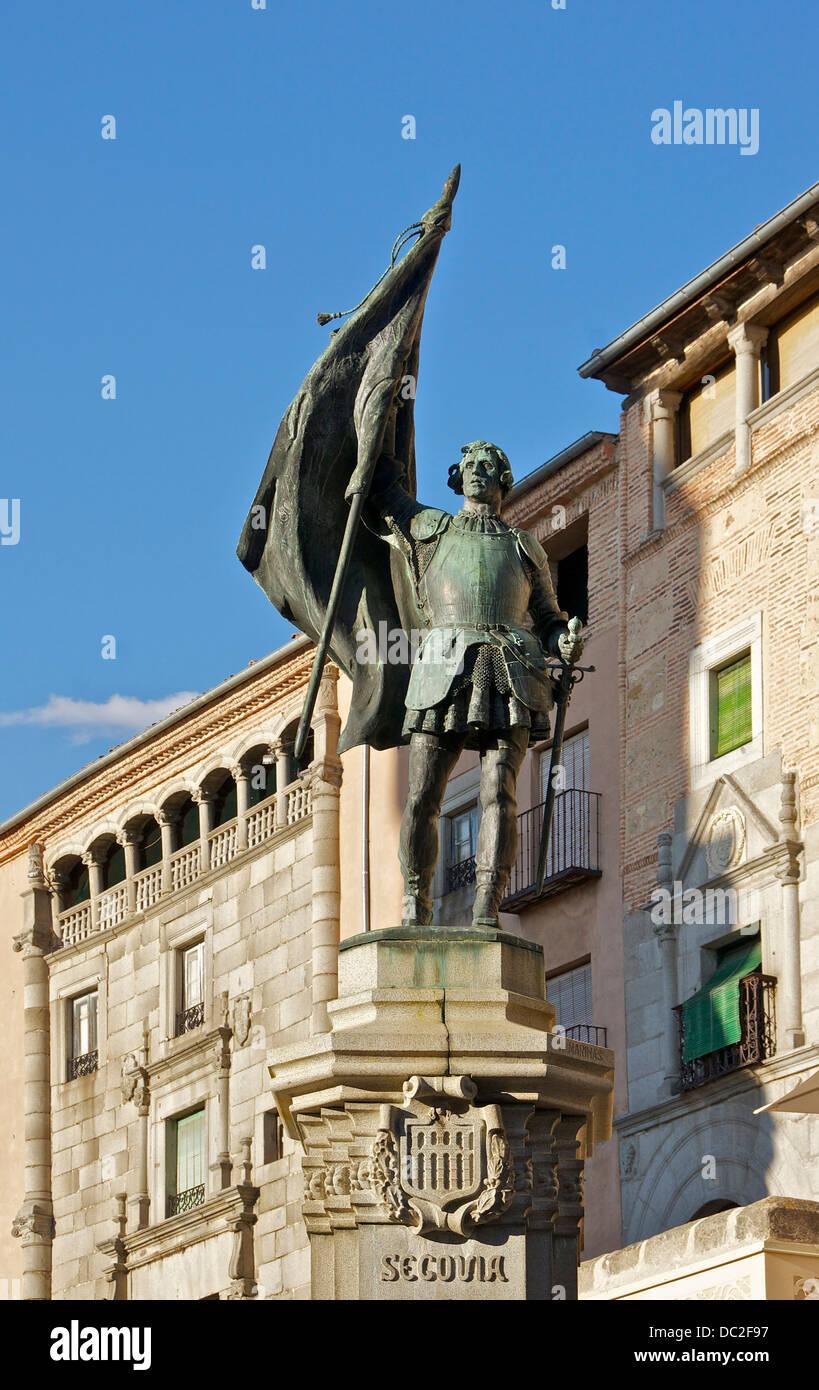 Statue of Juan Bravo by A.Marinas, 1921, Segovia, Spain. - Stock Image