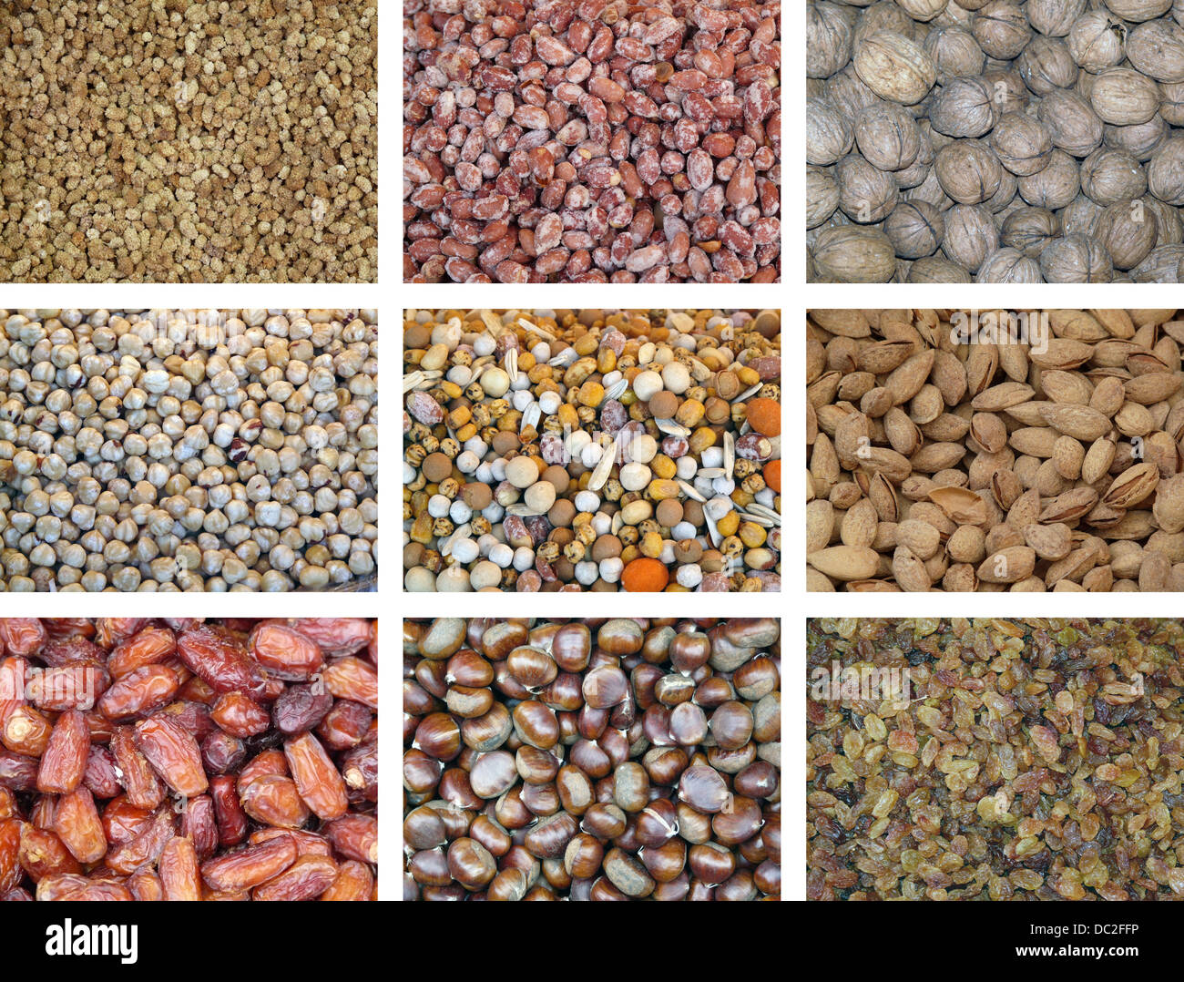 Collection of dried and mixed nuts - Stock Image