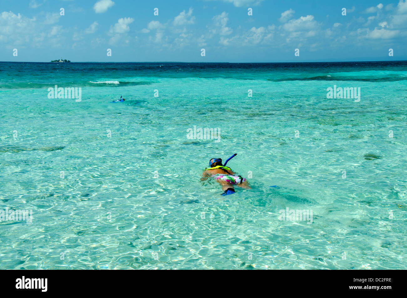 Belize, Caribbean Sea, Goff Caye. UNESCO. Snorkeling off the coast of Goff Caye. - Stock Image