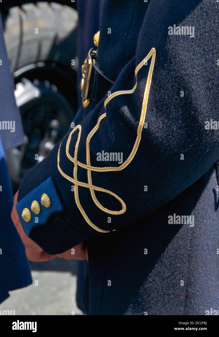 Detail of the rank insignia (called 'Hungarian knot') of the uniform of a Cadet Officer of the French Army - Stock Image