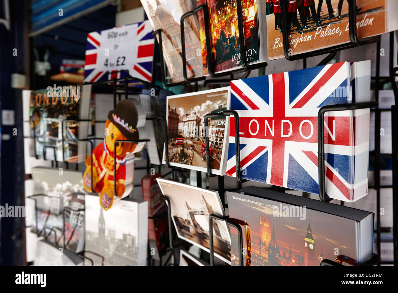 souvenir postcards on sale in london england uk - Stock Image